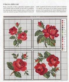 Tutorials and DIYs: Cross stitch pattern red roses Cross Stitch Rose, Cross Stitch Flowers, Cross Stitch Charts, Cross Stitch Designs, Cross Stitch Patterns, Embroidery Patterns Free, Beading Patterns, Cross Stitching, Cross Stitch Embroidery