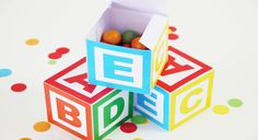 Alphabet Cube Party Boxes - http://www.pbs.org/parents/birthday-parties/abcs-123s-birthday-party/favors/boxes/