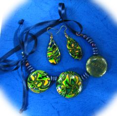 Polymer Clay Green Blue Black and Gold Necklace and by NataPi, $31.00