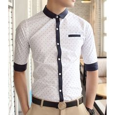 Casual Style Shirt Collar Stains Print Color Block Cuffs Half Sleeves Polyester Shirt For Men, WHITE, M in Shirts   DressLily.com