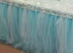 Tulle table/bed skirt, great idea for a Frozen bedroom Bedroom Themes, Girls Bedroom, Bedroom Ideas, Tulle Table Skirt, Frozen Bedroom, For Elise, Frozen Theme, Princess Room, Daughters Room
