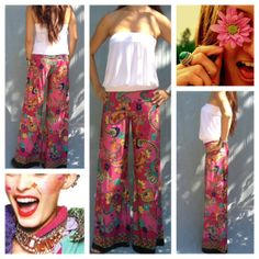 Shiny Happy People - Malibu Pants. Bright cheerful fun palazzo pants. Kinda of boho a bit hippie and somewhat retro ..it's up to how you wear it!!!  www.BlueLawnBoutique.com