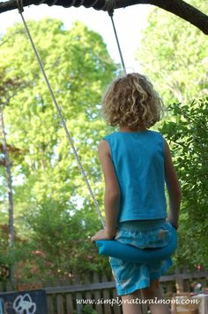 so cool -> simple tree swing using a rope and an old pool noodle