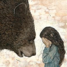 In the morning, the bear said to Snow White, 'I must go now. There are many things I must see to; I dare not neglect them. Thank you for your kindness. One day I hope I may be able to repay you. Art D'ours, Wallpaper Fofos, Photo D Art, Bear Art, Art Graphique, Children's Book Illustration, Friends Illustration, Spirit Animal, Animal Spirit Guides