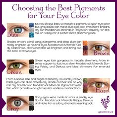 Choosing the best Moodstruck Minerals Pigment Powders for your eye color. #youniqueproducts #beauty #mineralmakeup
