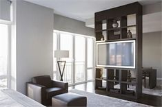 For Tv In Master High End Custom Made Built In Shelve Aguirre Inside Room Divider Wall Unit Living Room Partition Design, Living Room Divider, Room Divider Walls, Room Partition Designs, Living Room Decor, Room Dividers, Tv Stand Room Divider, Swivel Tv Stand, Apartment Design