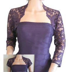Ladies Purple Grape Lace Bolero Gray/Shrug/Bolero 3/4 or Short Sleeve in Sizes 8,10,12,16 or 18