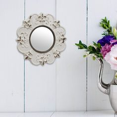 pin it for later. Read more on french country bathroom accessories. Stonebriar Decorative Round Antique White Ceramic Wall Mirror, Vintage Home Décor for Living Room, Kitchen, Bedroom, or Hallway, French Country Decor. Decorative wall mirror features a round glass mirror with crystal clear reflection accented with a lightly distressed white ceramic frame #frenchcountrybathroomaccessories