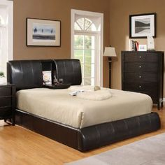Neat, it has a fold out table in the middle! Amazon.com - Queen Size Webster Espresso Leatherette Finish Platform Bed Frame Set - Bedroom Sets Furniture Queen