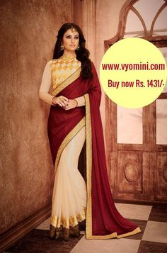#VYOMINI - #FashionForTheBeautifulIndianGirl #MakeInIndia #OnlineShopping #Discounts #Women #Style #EthnicWear #OOTD #BeigeSaree #Onlinestores  Only Rs 1816/-, get Rs 385/- #CashBack,   ☎+91-9810188757 / +91-9811438585