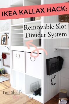 How to Make Horizontal Ikea Shelf Dividers - Top Shelf DIY ready to get organized in the new year? Divide up your Kallax cubbies with this easy removable slot Ikea Shelves, Ikea Storage, Craft Room Storage, Paper Storage, Ikea Shelf Hack, Office Organization, Storage Ideas, Shelving, Expedit Hack