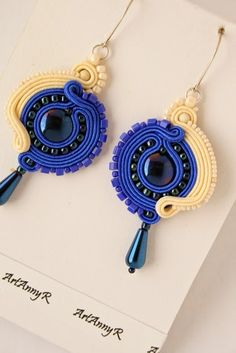 Soutache by ArtAnnyR Shibori, Types Of Embroidery, Beaded Embroidery, Soutache Jewelry, Washer Necklace, Jewerly, Crochet Earrings, Ribbon, Drop Earrings
