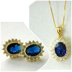 Conjunto Princesa pedra oval azul  - Iza Brandt Acessórios