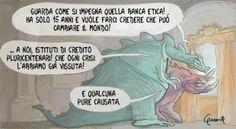 """Vignetta 23 per BancaEtica, iniziativa """"#conimieisoldi – Cambiamo la finanza azione per azione"""" È un gioco, ma serio: scrivi e vota le tue pic..."""