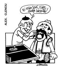 """SI CIND JOCI, TINE GURA INCHISA!"" Caricatura de ALEX. CLENCIU, publicata in almanahul PERPETUUM COMIC '97 editat de URZICA, revista de satira si umor din Romania"