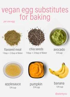 These vegan egg substitutes are great for your baking needs! If your transitioning to a plant based diet, its a great idea to start using these whole food substitutes in your baking. Vegan Foods, Vegan Vegetarian, Vegetarian Recipes, Paleo, Plant Based Eating, Plant Based Diet, Plant Based Eggs, Egg Free Recipes, Whole Food Recipes