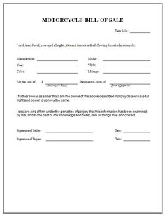 Printable Sample Bill of sale camper Form | Forms and Template ...