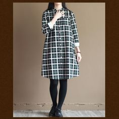 Green plaid long sleeve cotton shirt dress summer spring dressThis dress is made of cotton linen fabric, soft and breathy, suitable for summer, so loose dresses to make you comfortable all the time.Measurement:  Size S length 94cm / 36.66
