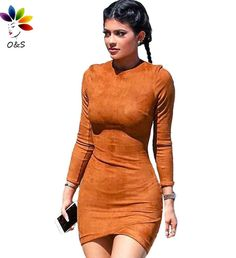 S-XL Suede Long sleeve Spring Winter Dresses Sexy Club Mini Bodycon Party Dress Vestidos Casual Women Clothing