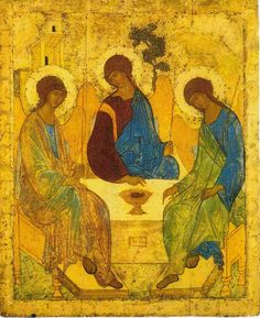 Holy Trinity Icon, believed to be created by Russian painter Andrei Rublev. Trinity depicts the three angels who visited Abraham at the oak of Mamre (see. Genesis but the painting is full of symbolism and often interpreted as an icon of the Holy Trinity. Russian Icons, Russian Art, Russian Culture, Russian Painting, Religious Icons, Religious Art, Andrei Rublev, Kunst Online, Byzantine Art