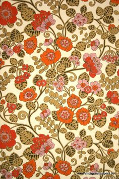 Original retro wallpaper vinyl wallcovering from the sixties seventies - A unique collection of original 1950's to 1980's wallpapers for sale!