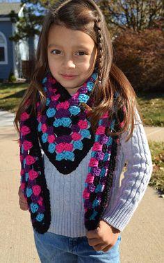 Girl's scarf, unique v-shaped design done in traditional granny stitch