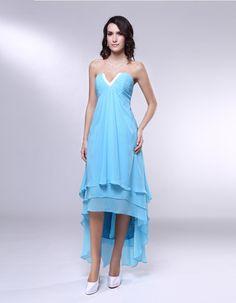 Chiffon Strapless Asymetrical Evening Dress