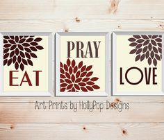 Modern Kitchen Trio Print Set-Home Decor Wall Art-Red Brown Ivory Art Prints-Floral Trio Wall Decor-Inspirational Dining Decor-8x10 11x14