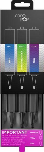 CreoPop 3D Printing Pen Ink - Temperature Sensitive 3 Pack - Blue, Bright Greenish Yellow, Purple-Bl