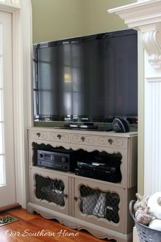 French country style flat screen tv entertainment cabinet media ...