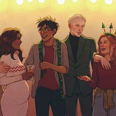 #romione #drarry #linny #ronweasley #hermionegranger #harrypotter #dracomalfoy #ginnyweasley #lunalovegood #christmas #upthehillart
