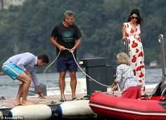 amal alamuddin feet | Helping hand: Clooney helped the dock the boat to help the couple get ...