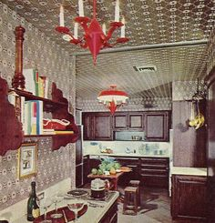 Wallpaper that ceiling and get the largest pepper grinder you can lift. // H&G's Complete Guide to INTERIOR DECORATION ©1970