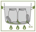 密閉保存の仕方     ・鍋はビンより5cm以上高いものを用意。 ・ガラス本体に割れや欠けがないか、フタは変形やパッキン部分にキズが無いか確認。 ・ガラスとフタは洗剤などでよく洗っておく。 1.煮沸消毒 ・鍋底に布巾を敷き、ビンの高さ  から2cmほどかぶる程度に鍋に  水を張る。 ・ガラスとフタを鍋に入れ、水の  状態から約80℃まで加熱し、  煮沸消毒。 ・使用するまで湯の中に入れておく。