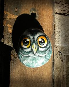Owl Handpainted rock painting handpainted stone miniature painted rock