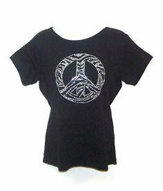 Zebra Black White Peace Rhinestone Womens T Shirts M- 2xl