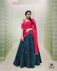 Regina in Trendy Half Saree - Saree Blouse Patterns Lehenga Saree Design, Half Saree Lehenga, Lehnga Dress, Indian Lehenga, Long Gown Dress, Lehenga Designs, Saree Blouse Designs, Sari, Dress Designs