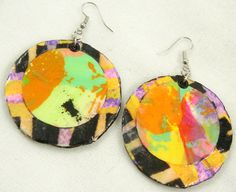 From Paper with Purple Paint to One of a Kind Earrings - picture tutorial