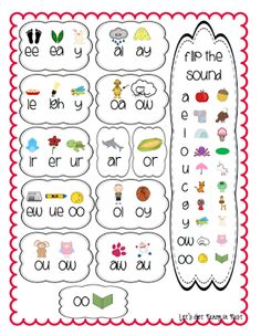 Vowel Digraph Chart-going in reading notebooks this year or taped on my guided reading table Kindergarten Literacy, Early Literacy, Literacy Activities, Preschool, Literacy Centers, Phonics Reading, Teaching Reading, Teaching Phonics, Phonics Dance
