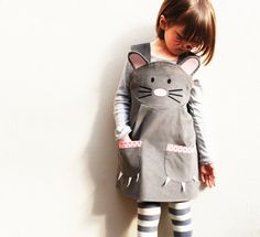 Miss Mouse, babies and little girls dress costume ,in super soft silver grey corduroy. This little dress is sure to be a favourite piece,making