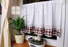 Firana roletka z bawełny i tiulu curtain, rideaux, curtains shabby chic, rustyka.pl Shabby Chic, Shower, Studio, Couture, Home Decor, Blinds, Curtains, Rain Shower Heads, High Fashion