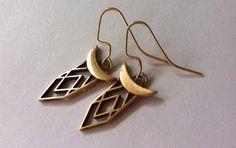 Demeter Cast Bronze drop earrings with gold by RellikJewelry