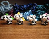 """Polymer Clay Stitch Markers- Mini """"Miss Bossy"""" the Cow Stitch Markers (set of 4)"""