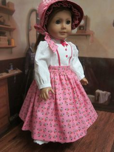 18 inch American Girl Doll Clothes Addy Kirsten Prairie Civil War Day Dress and Bonnet by IndustriousDog on Etsy