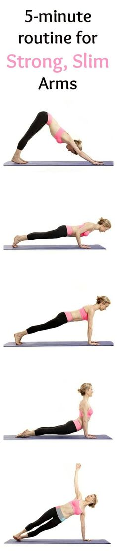 Want to tone your arms? Try these arm workouts or toned, strong and beautiful arms. These quick workouts take 5 minutes of your time and you can do them daily, whenever you have the time. This amazing list includes 5-minute ab workouts for flat belly, 5-minute butt workouts, 5-minute leg workouts and inner thigh workouts and 5-minute arm workouts. Most of these exercises require almost no equipment. Some of them - just a pair of dumbbells and you can do them at home or anywhere you want…