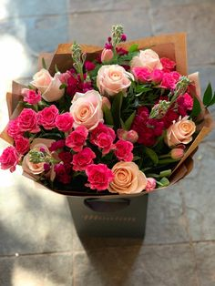 A gorgeous hand-tied bouquet of roses, fragrant stocks and and tulips from our Hartley Wintney flower shop. Flower Boquet, Red Rose Bouquet, Beautiful Bouquet Of Flowers, Tulips Flowers, Beautiful Flowers, Beautiful Flower Arrangements, Floral Arrangements, Flower Shop Decor, Luxury Flowers