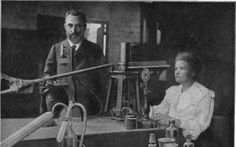 Pierre & Marie Curie in laboratorium
