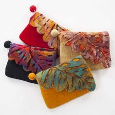 Nuno Felted Wool Leaf Coin Purses One-Of-A-KindYou can find Nuno felting and more on our website.Nuno Felted Wool Leaf Coin Purses One-Of-A-Kind Felted Wool Crafts, Felt Crafts, Handmade Handbags, Handmade Bags, Handmade Bracelets, Nuno Felting, Needle Felting, Diy Sac, Felt Purse