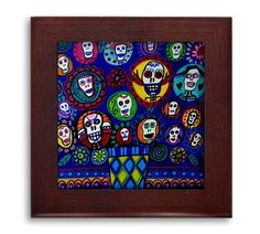 SALE ENDS Today- Day of the Dead Mexican Folk Art Ceramic Framed Tile by Heather Galler - Sugar Skulls Ready To Hang Tile Fram