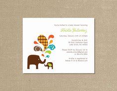 Colorful Elephant Baby Shower Invitations Set of by myelizabethK